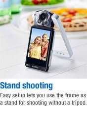 Stand shooting - Easy setup lets you use the frame as a stand for shooting without a tripod.