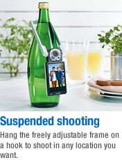 Suspended shooting - Hang the freely adjustable frame on a hook to shoot in any location you want.