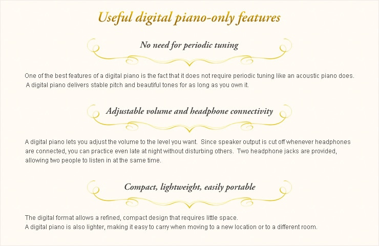 Useful digital piano-only features