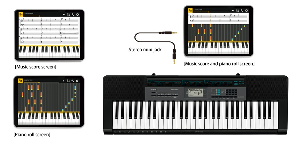 Play the keyboard while linked with the app
