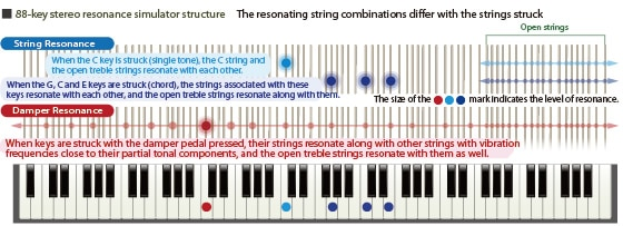 88-key stereo resonance simulator structure The resonating string combinations differ with the strings struck
