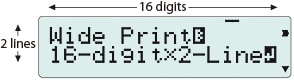 Large 16-digit, 2-line LCD
