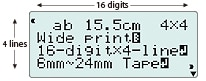 Large, easy-to-read, 16-digit, 4-line LCD