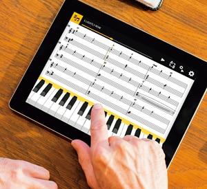 Practique tocar música en la pantalla del dispositivo inteligente