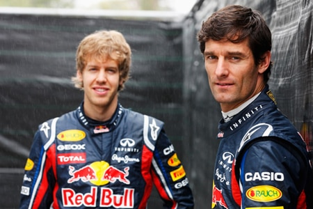Sebastian Vettel (left) and Mark Webber (right)